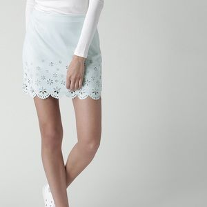 Scallop Baby Blue Floral Cut Out Mini Skirt